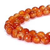 jennysun2010 Natural Carnelian Agate Gemstone 8mm Faceted Round Loose 50pcs Beads 1 Strand for Bracelet Necklace Earrings Jewelry Making Crafts Design Healing