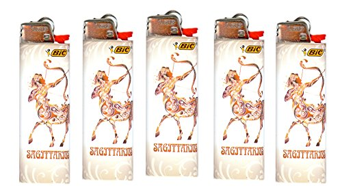 (Bic Horoscope Lighters Sagittarius 5 Pack Collectable Design)