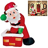 Joiedomi 4 Foot Inflatable Santa Claus LED Light Up Christmas Xmas Inflatable Rooftop Santa Claus Carry Gift Bag for Blow Up Yard Decoration, Indoor Outdoor Garden Christmas Decoration