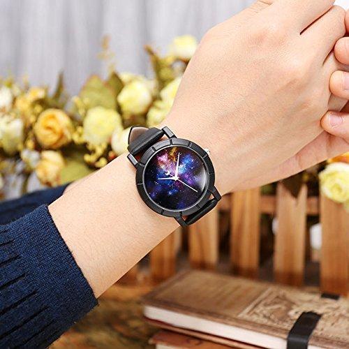 JSDDE Montre Femme Cadran de Ciel d\'étoiles Multicolore Aiguille Lune Bracelet PU Constellation