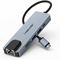 Lemorele Hub USB C con Ethernet - 5 en 1, Adaptador USB C Hub con HDMI 4K, 2 USB 3.0, Carga Súper Rápida de 100W, USB C…