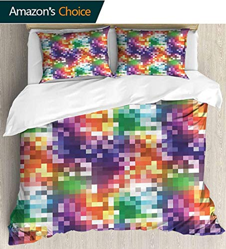Colorblock Square - Colorful 3 Piece Quilt Coverlet Bedspread,Mosaic Rainbow Colored Checkered Squares Abstract Pixel Art Inspired Illustration All Season Lightweight Colorblock Kids Bedding Set 90