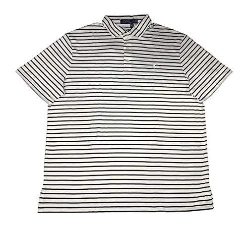 Polo Ralph Lauren Men's Classic Fit Pony Logo Striped Polo Shirt (White, X-Large)