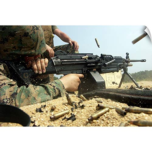 (CANVAS ON DEMAND Stocktrek Images Wall Peel Wall Art Print Entitled A Marine engages Targets with an M249 Squad Automatic Weapon 18