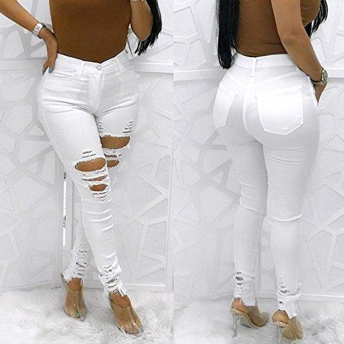 Pantalon Trous Femme Jeans Blanc Beautyjourney Stretch CassS Slim Denim Jeans Haute Blanc Taille Pantalon Haute Jean Taille Jeans Femme Crayon Femme Skinny Lastique dxwfUfAqc4