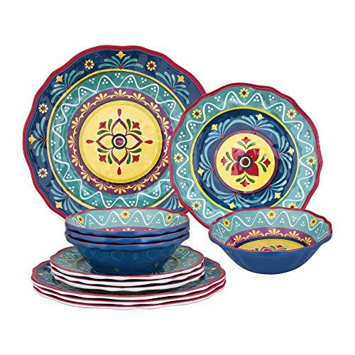 Gourmet Art 12-Piece Fiesta Floral Heavyweight and Durable Melamine Dinnerware Set, Service for 4. Includes Dinner…