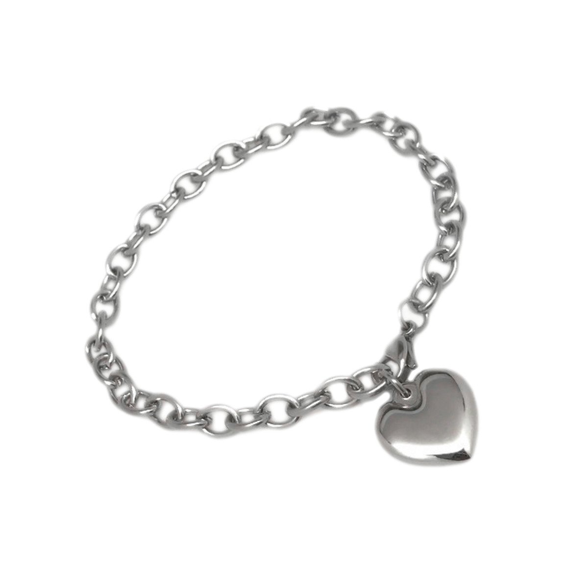 Womens Stainless Steel Heart Charm Chain Bracelet Adjustable (6.5 - 7 inches)) by Loralyn Designs (Image #2)