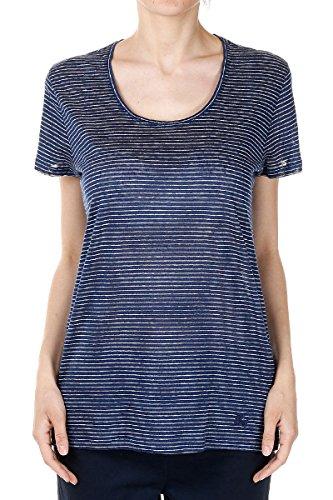 Burberry Brit Women Blue Round Neck Linen Striped T-Shirt Tee Medium - Cheap Burberry