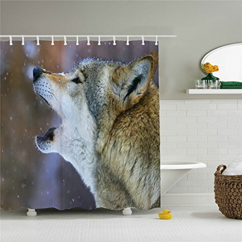 Wolves Ivory - starlight-Bracele Bathroom shower curtains, gray wolves howling in the snow, gray,waterproof, mildew proof, machine washable, environment-friendly material, odorless