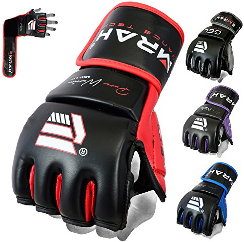 EMRAH Pro Style MMA Grappling Gloves Martial Arts Sparring Punching Bag Cage Fighting Maya Hide Leather Mitts UFC Training - X (XL, Black/Red)