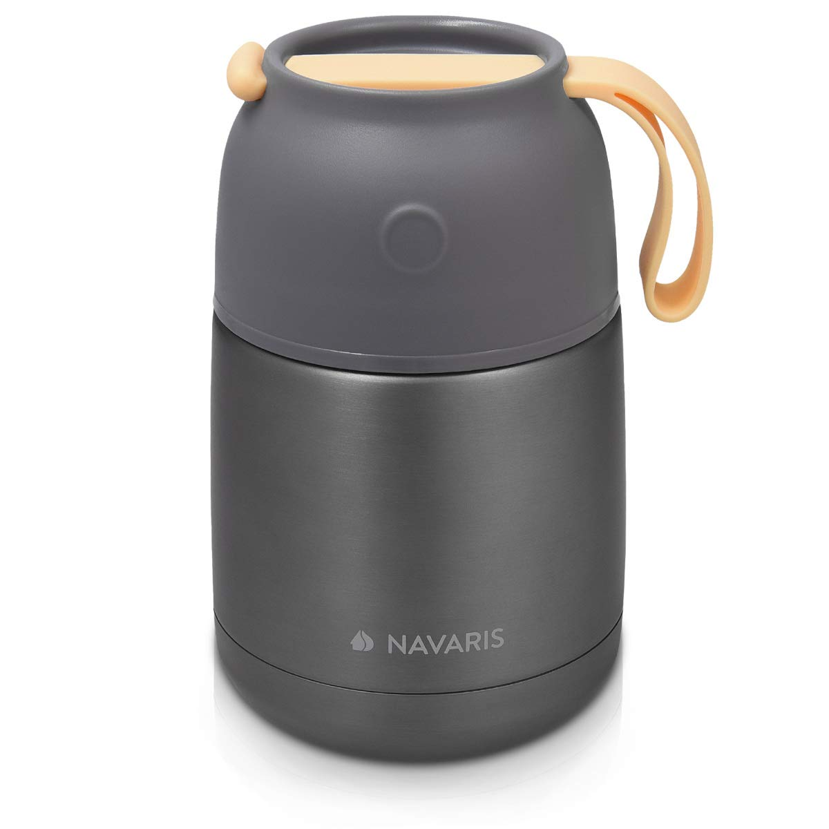 Navaris Vacuum Insulated Food Jar - Stainless Steel Food Flask Container with Wide Mouth for Hot or Cold Lunch - Size S (15.2 oz / 450 ml), Dark Gray