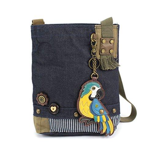 Chala Patch Cross-Body Women Handbag, Blue Denim Canvas Messenger Bag - Parrot Blue, Denim
