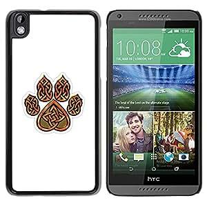 iKiki Tech / Estuche rígido - Bear Claw Brown White Pattern Heart - HTC DESIRE 816