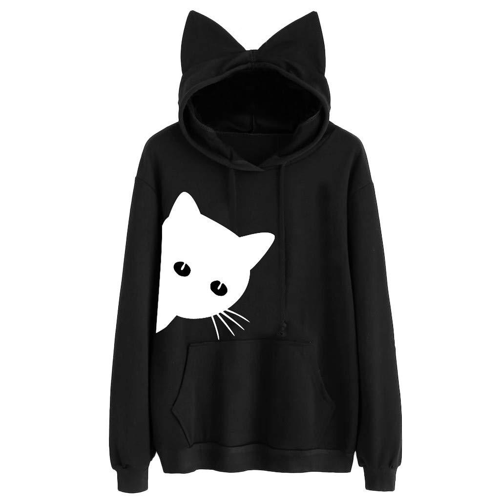 Shenye Damen Langarm K/änguru Taschen Cute Cat Ear Pullover Hoodie Tops Fr/ühling Outwear Mode Frauen Sweatshirt