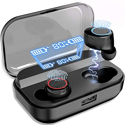NPET True Wireless Earbuds [2019 Latest Version], Bluetooth 5.0 Deep Bass HD Stereo Sound Wireless Earbuds, IPX7 Waterproof, AAC, Touch Control, 4000mAh Charging Case with Power Display