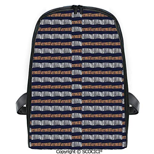 - SCOCICI Students Cute Printed Bookbag Abstract Authentic Motif with Horizontal Folk Bands Vintage Culture Design with Funny Personalized Graphics