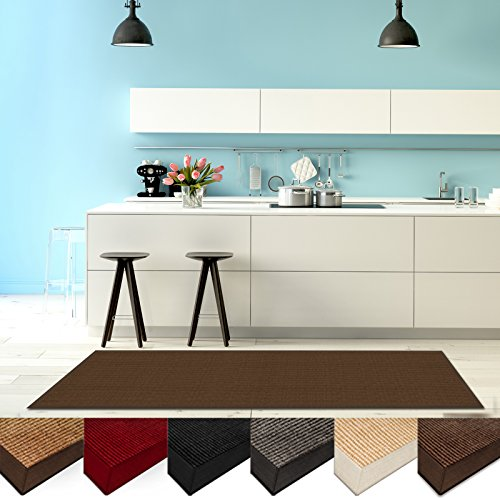 casa-pura-natural-fiber-runner-sisal-non-slip-backing-wide-border-26x9-dark-brown-3-sizes-5-colors