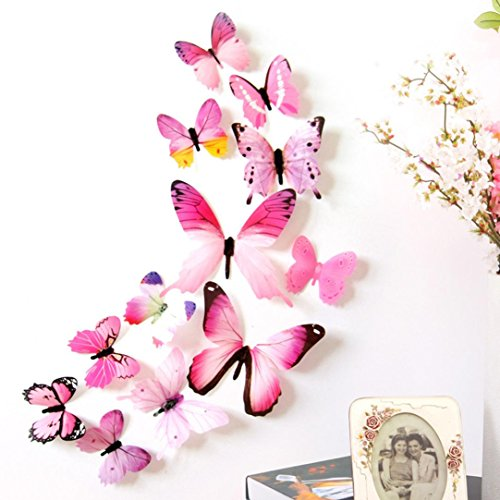 Quaanti 2018 Wall Stickers 12pcs Decal Wall Stickers Home Decorations 3D Butterfly Rainbow PVC Wallpaper for Living Room (Pink)