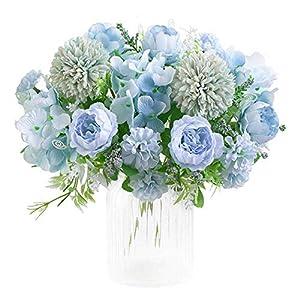 Silk Flower Arrangements KIRIFLY Artificial Flowers, Fake Peony Silk Hydrangea Bouquet Decor Plastic Carnations Realistic Flower Arrangements Wedding Decoration Table Centerpieces 2 Packs (Blue)