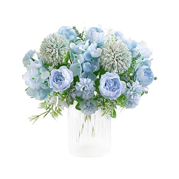 KIRIFLY Artificial Flowers, Fake Peony Silk Hydrangea Bouquet Decor Plastic Carnations Realistic Flower Arrangements Wedding Decoration Table Centerpieces 2 Packs (Blue)