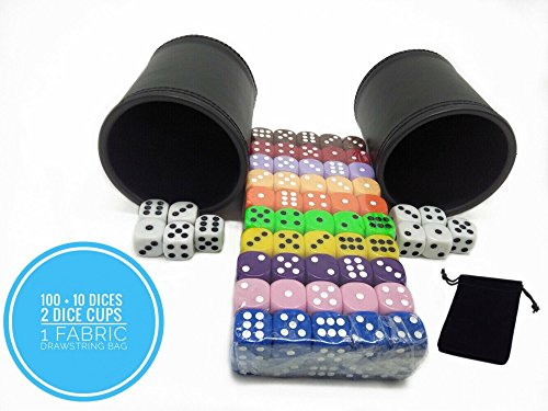 110 Pieces Dice Set With Bag And Dice Cups, Big Bulk Of 16mm Dice With 11 Assorted Colors, 1 Storage Bag, 2 Dice Cup, 6 sided Playing Dice For Adults and Kids