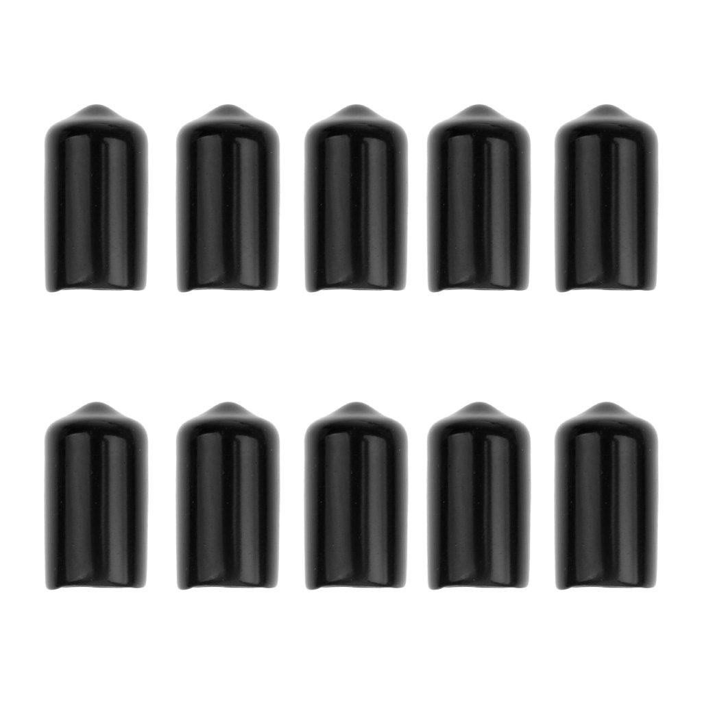 MagiDeal 10 Pieces Snooker Billiard Cue Tip Rubber Protector Black