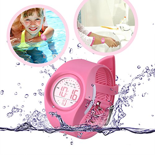 Kids Watch Waterproof Children Electronic Watch - Lighting Watch 50M Waterproof for Outdoor Sports,LED Digital Stopwatch with Chronograph, Alarm,Time Window Child Wrist Watch for Boys, Girls (Pink) by PERSUPER (Image #4)'