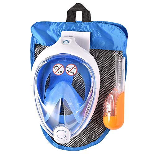 SUBEA Tribord EasyBreath Full Face, Anti-Fog, Hypoallergenic Silicone Facial Lining Snorkeling Mask, Blue, M/L