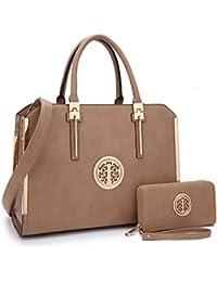 Belted Purses for Women, Vegan Leather Two-Tone Padlock Satchel Top Handle Desginer Tote w/Wallet Set