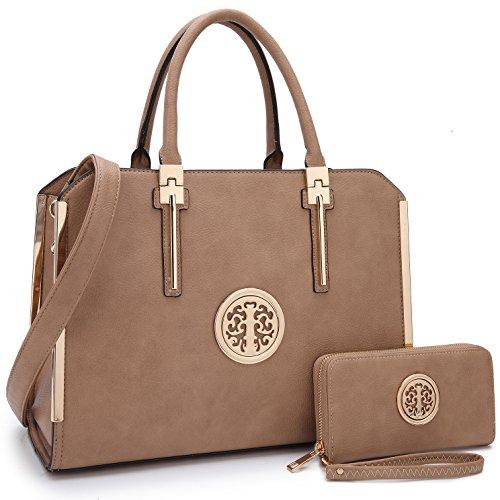 Designer Women Laptop Briefcase, Large Handbag for Lady PU Leather Satchel Lightweight Tote Summer Cross-Body Purse (XL-7555-W-D.BG)