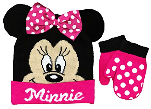 Minnie Mouse Toddler Beanie Hat and Mittens Set (Bow Black/Pink)