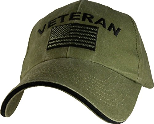 Eagle Crest Military Veteran U.S. Flag Cap, Green, Adjustable