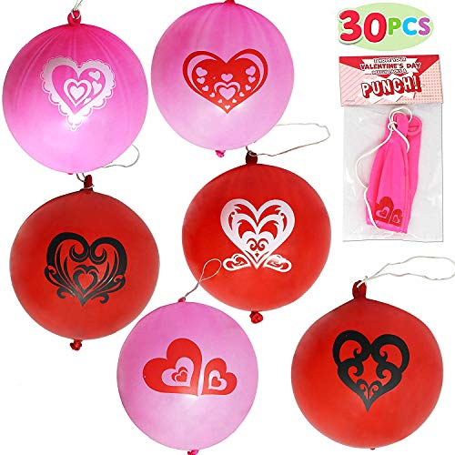 Buy Cheap JOYIN 30 Pack Valentines Day Gift Cards with Gift Punch Ball Balloon Set for Classroom Exc...