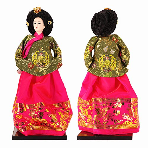 "JG.Eshadoll Gorgeous Tall Korean Doll, 12"" Hanbok Costume of Korea, Embroidered Dress, Black Base, International Collectible Doll, Vintage for Home Kitchen Decorative (Multi, 12"")"