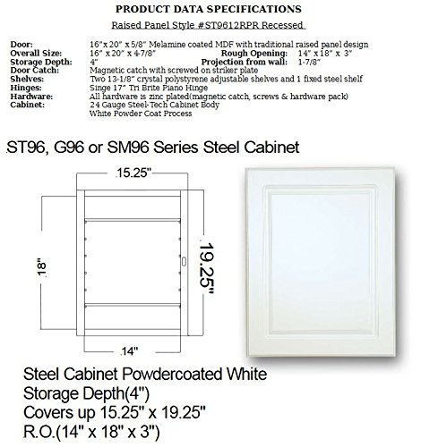American Pride G9612RPR1 Recessed White Raised Panel Door with Steel Body Medicine Cabinet, 16 x 20'' by American Pride (Image #2)