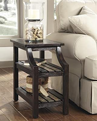 Ashley Furniture Signature Design Mestler Chair Side End Table, Rustic Brown