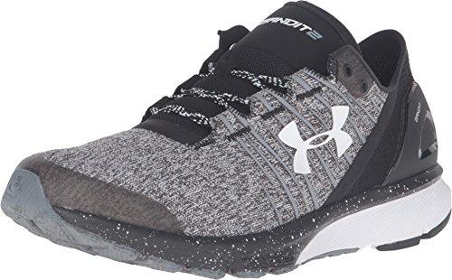 Under Armour Women's UA Charged Bandit 2 Black/Black/White Sneaker 6 B (M)