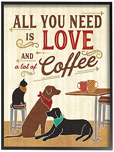 (Stupell Industries All You Need is Love and Coffee Cats Dogs Oversized Framed Giclee Texturized Art, Proudly Made in USA)