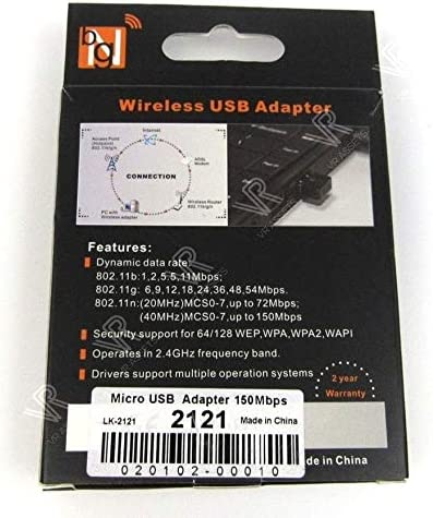 VRA Micro Mini USB Wireless 802.11b//n//g 150Mbps LAN Adapter 020102-00010