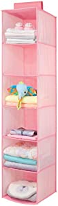 mDesign Long Soft Fabric Over Closet Rod Hanging Storage Organizer with 6 Shelves for Child/Kids Room or Nursery - Herringbone Print - Pink
