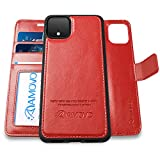 Pixel 4XL Wallet Case [2 in 1] AMOVO Vegan Leather Case for Google Pixel 4 XL [Detachable Folio] [Wristlet] [Stand Feature] [Magnetic Clasp] Google 4XL Flip Case Gift Box Package (Pixel 4XL, Red)