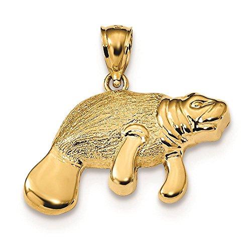 14K Yellow Gold Manatee Charm Pendant (Yellow Manatee Gold 14k)