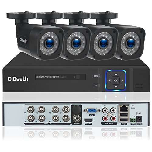 DIDseth 8-Channel 720P HD-TVI Home Surveillance Camera System, 1080N CCTV DVR Recorder and (4) 1.0MP 1280TVL Outdoor/Indoor Security Cameras | Motion Detection, Night Vision LEDs (Monitor Large Cctv)