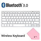 Boxcave Wireless Bluetooth 3.0 Slim Keyboard for Apple iPad 2 /iPad 3 / iPad 4 / iPad Mini / iPad Mini 2 / The New iPad With Retina Display / Nexus 7 / Galaxy Tab / And All Tablets / Computers and Laptops. (White)