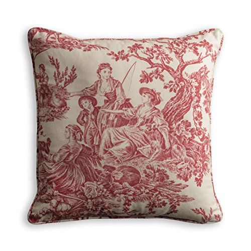 - Maison d' Hermine The Miller 100% Cotton Toile Red Decorative Pillow Cover 18 Inch by 18 Inch