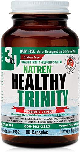 Natren Healthy Trinity Probiotics Supplement – 90 Dairy and Gluten Free Gel Capsules – Improve Gut and Digestive Health, 30 Billion CFU – Lactobacillus Acidophilus, Bifidobacterium, Bulgaricus