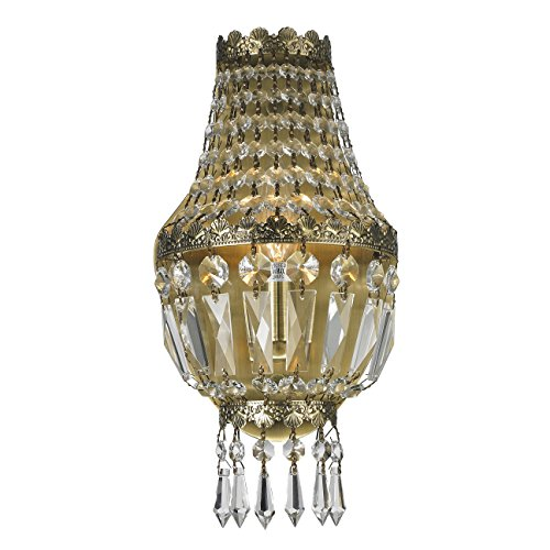 Worldwide Lighting W23086AB6 Metropolitan 1 Light Basket Wall Sconce, Antique Bronze Finish and Clear Crystal, Small Fixture, 8