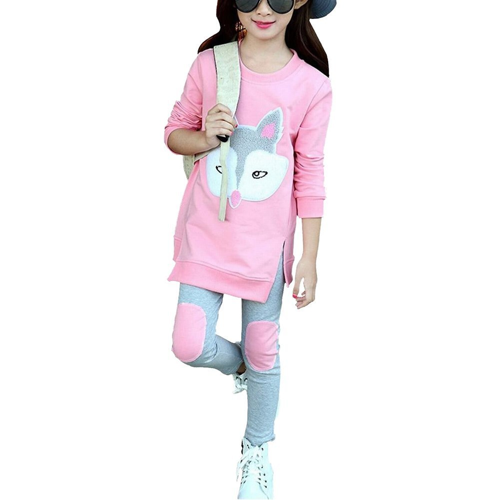 M RACLE Cute Little Girls' 2 Pieces Long Sleeve Top Pants Leggings Clothes Set Outfit (6-7 Years(130), Pink Fox)