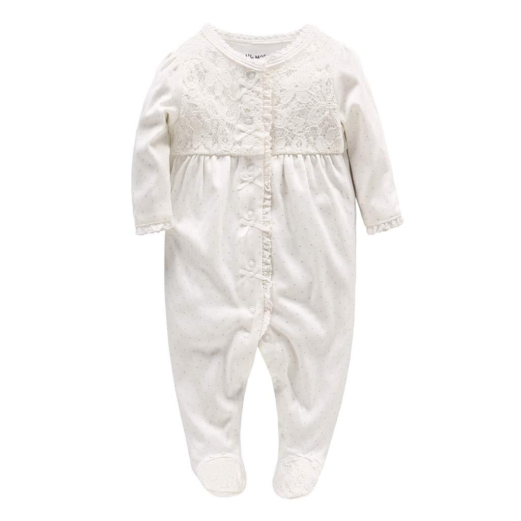 Minizone Baby Mädchen Strampler Spielanzug Baumwolle Schlafanzug Overalls Prinzessin Baby-Nachtwäsche