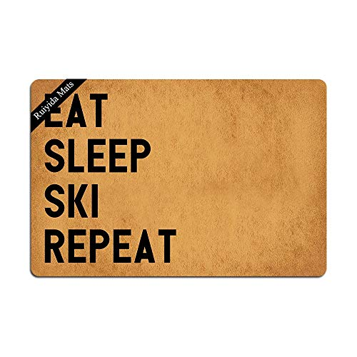 Ruiyida Eat Sleep Ski Repeat Doormat Custom Home Living Decor Housewares Rugs and Mats State Indoor Gift Ideas 23.6 by 15.7 Inch Machine Washable Fabric Top ()